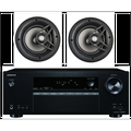 """Onkyo 5.2 Channel Full 4K Bluetooth AV Home Theater Receiver + Polk 8"""" 2 Way High-Performance Natural Surround Sound In-Ceiling Speaker System (Pair)"""