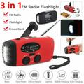Emergency Solar Hand Crank Dynamo Radio, Portable NOAA Weather Radio with AM/FM/WB, 3 LED Flashlight, Reading Lamp, Power Bank Phone Charger, Water-resistant Outdoor Household Emergency Device