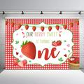 Strawberry First Birthday Party Backdrop Berry Sweet Birthday Party Background 7x5ft Strawberry 1st Birthday Summer Fruits Party Decorations Backdrops for Girls