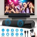 Bluetooth Sound Bar, TSV Sound Bar for TV/PC, Wired & Wireless Bluetooth 5.0 Stereo Speaker, 2x5W Mini Home Theater Sound bar w/Built-in Subwoofers for Phones/Tablets, Clock Display Desktop Speakers