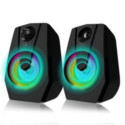 Computer Speakers PC USB Powered Desktop Laptop Speaker, Stereo RGB Wired Multimedia Gaming Speakers 2.0 Channel Volume Control 3.5MM Sound Bass with RGB Light for Tablet Phones Monitor TV Mac