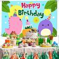 Cartoon DinosaurHappy Birthday Backdrop Dinosaur Birthday Party Supplies Children Gilrs Boys Birthday Party Decoration Birthday Party Photography Background Photo Studio Props