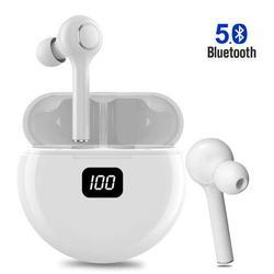 Bluetooth 5.0 Headphones Wireless Earbuds CVC 8.0 Noise Cancellation in-Ear Wireless Headphones Hi-Fi Stereo Sweatproof Earphones Sport Headsets Built-in Mic for Work/Running/Travel/Gym (White)