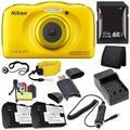 Nikon COOLPIX S33 Digital Camera (Yellow) (International Model No Warranty) + EN-EL19 Battery + External Charger + 32GB SDHC Card + Floating Strap + Card Reader + Card Wallet Saver Bundle