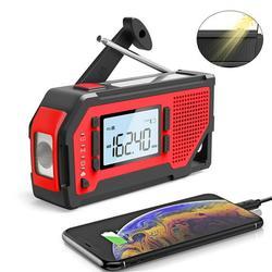 Solar Hand Crank Radio, Emergency Weather Radio Portable, Radio Weather Alert Radio, AM/FM/NOAA Weather Radio for Household and Outdoor, LED Flashlight
