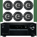 """Onkyo 5.2 Channel Full 4K Bluetooth AV Home Theater Receiver + Polk 8"""" 2 Way High-Performance Natural Surround Sound In-Ceiling Speaker System (Set Of 6)"""