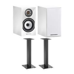 Triangle Esprit Titus Ez Hi-Fi Bookshelf Speakers (White, Pair) & Speaker Stands