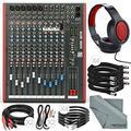 Allen & Heath ZED14 14-Channel Recording Live Sound Mixer with USB Interface and Basic Bundle w/ Headphones,12x Cables, Fibertique