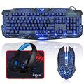 BlueFinger Backlit Gaming Keyboard and Mouse and LED Headset Combo,USB Wired 3 Color Crack Backlit Keyboard,Blue LED Light Gaming Headset,Gaming Keyboard Mouse Headphone Set for Work and Gam