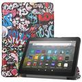 Allytech Amazon New Kindle Fire HD 8 Case (8-inch Display, 10th Generation, 2020 Released), Slim Trifold Stand Protective Auto Sleep Wake Case Cover for Amazon Kindle Fire HD 8 2020, Painting