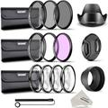 58MM Complete Lens Filter and Accessory Kit: 58MM Filters(UV/CPL/FLD), Close-up Filters(+1/+2/+4/+10), ND Filters(ND2/ND4/ND8), Lens Hoods, Lens Cap, Cap Keeper Leash, Filter Pouches, Cloth