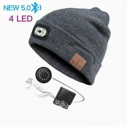Bluetooth Beanie Hat with LED Headlight, Lighted Beanie Cap USB Rechargeable with Wireless Bluetooth Hands Free Head Hat Winter Warm Knit Cap