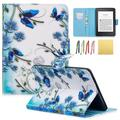 Allytech Case for Kindle Paperwhite - PU Leather Flip Folio Stand Wallet Case Covers for All-New Kindle Paperwhite (Fits All 2012, 2013, 2015 and 2016 Versions), Blue Flower