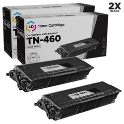 LD Compatible Replacements for TN460 Pack of 2 High Yield Black Toner Cartridges for DCP-1200, DCP-1400, FAX 8350p, HL-1030, HL-1240, HL-1270n, Intellifax 4100, 4750, 5750, MFC-1260