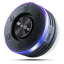MuGo Bluetooth Speaker, Wireless Speaker with Suction Cup, IP7 Waterproof Portable Bluetooth Speakers for Shower, Mini Outdoor Speaker with Ambient LED Light, 360° Full Surround Sound, Enhanced B