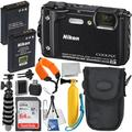 Nikon COOLPIX W300 Digital Camera (Black) with Deluxe Accessory Bundle - Includes: SanDisk Ultra 64GB Memory Card, Extended Life Replacement Battery, Camera Carrying Case, Floating Wrist Strap & MORE