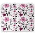 Dragonfly Mouse Pad, Shabby Form Floral Swirled Leaves and Florets Illustration, Rectangle Non-Slip Rubber Mousepad, Pale Pink Dried Rose, by Ambesonne
