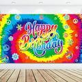 Tie Dye Birthday Banner 60's Theme Happy Birthday BackdropHippie Birthday Party Decorations Groovy Sign Rainbow Birthday Backdrop for Birthday Anniversary Party Background, 70.8 x 43.3 Inch