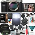 Sony a7C Mirrorless Full Frame Camera Alpha 7C Interchangeable Lens Body Only Silver ILCE7C/S Bundle with Deco Gear Case + Extra Battery + Flash + Filters + 64GB Card + Software Kit and Accessories