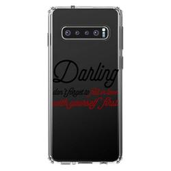 """DistinctInk Clear Shockproof Hybrid Case for Samsung Galaxy S10+ PLUS (6.4"""" Screen) - TPU Bumper Acrylic Back Tempered Glass Screen Protector - Darling Don't Forget to Fall In Love with Yourself"""