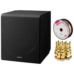 """Sony 115 W 10"""" Home Theater Active Subwoofer (SA-CS9) with Monoprice Select Series 16 AWG Speaker Wire 100ft & High-Quality Brass Speaker Banana Plugs, 5-Pair, Open Screw Type"""