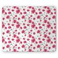 Butterfly Mouse Pad, Mothers Day Spring Themed Blossoming Nature Image Poppy Flowers Print, Rectangle Non-Slip Rubber Mousepad, Pink Reseda Green Blue, by Ambesonne