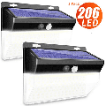 1 Pack Solar Lights Outdoor, 206 LED Security Lights 3 Modes Wireless Motion Sensor Light with 270° Wide Angle Solar Powered Lights Waterproof Wall Lights for Garden, Door, Pathway,Yard