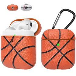Apple Airpods Case Skin, Takfox AirPods Accessories Case for Airpods 1 & 2 Portable Protective Anti-Scratch PU Leather Cover Skin for Airpods 1 & AirPods 2 [Front LED Visible] w/ Keychain -Basketball