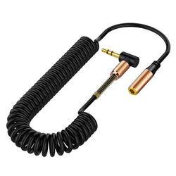 3.5mm Audio Cable Male to Female AUX Extension Wire Elbow Spring Retractable Audio Speaker Telescopic Cable HIFI Sound Quality