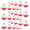 Coopay 15pcs-50pcs/lot Fishing Bobbers Floats Set Hard ABS Snap on Red/White Float Bobbers Push Button Round Buoy Floats Fishing Tackle Accessories Size: 0.5/1/1.25/1.5/2 Inch (0.5+1+1.25+1.5+2=3