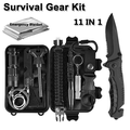 MDhand Emergency Survival Kit 11 in 1,Outdoor Survival Gear Tool with Survival Bracelet, Folding Knife,Emergency Blanket, Fire Starter, Whistle, Tactical Pen for Camping, Hiking, Climbing