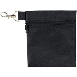 BuyAgain Golf Tee Pouch, 5.62 X 6.87 Inch Professional Zipper Golf Tee/Ball Pouch Bag with Metal Lobster Claw Clip. Black