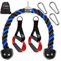 WNOEY Tricep Rope Cable Attachment 27.5 Inch with 2 Exercise Handles + 3 Carabiner Clips - Cable Machine Attachments - Tricep Pull Down Rope - Cable Attachments for Gym, Home Gym Accessories