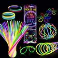 Premium Glow Sticks 100 Bulk Party Supplies Glow in The Dark 12 Hours Glow Party Pack 8 inch with Unique Connectors Neon Glow Bracelets Necklaces for Kids Camping Accessories 205 Pcs