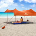 Red Suricata Family Beach Sunshade - Sun Shade Canopy UPF50 UV Protection Tent with 4 Aluminum Poles, 4 Pole Anchors, 4 Sandbag Anchors Large & Portable Shelter Tarp