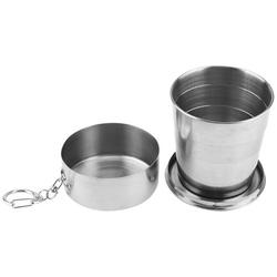Mgaxyff Portable Outdoor Stainless Steel Collapsible Folding Cup for Traveling Camping with Key Chain, Stainless Steel Cup, Portable Outdoor Cup