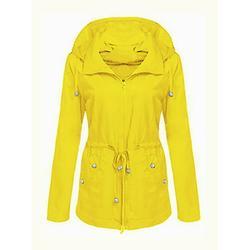FASHIONWT Women Plus Size Hooded Anorak Slimming Jacket Waterproof Raincoat