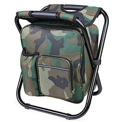 Fishing Backpack Chair, Portable Camping Stool, Foldable Solid Construction Camping Chair with Double Layer Oxford Fabric Cooler Bag for Fishing, Beach, Camping, House and Outing (Camouflage)