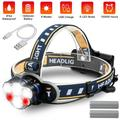 Rechargeable Headlamp, LED Head Lamp Waterproof 6 LED USB Work Headlight Flashlight with Red Lights, Ultra Bright Headlamps with 8 Modes for Adults Running Outdoor Camping Cycling Fishing Hiking