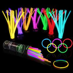 """100 Glow Sticks Bulk Party Supplies - Halloween Glow in The Dark Fun Party Pack with 8"""" Glowsticks and Connectors for Bracelets and Necklaces for Kids and Adults"""