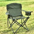 Folding Camping Chair with Cooler, Ultralight Outdoor Portable Chair with Cup Holder and Carry Bag, Padded Armrest Camping Chair, Collapsible Lawn Chair for BBQ, Beach, Hiking, Picnic, TE095