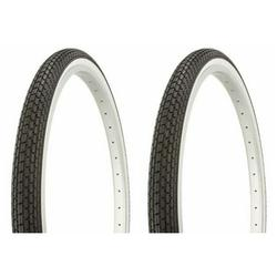 """Tire set. 2 Tires. Two Tires Duro 26"""" x 1.75"""" Black/White Side Wall HF-120A. Bicycle Tires, bike Tires, beach cruiser bike Tires, cruiser bike Tires"""
