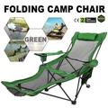 VEVOR Folding Camp Chair with Footrest Mesh, Lounge Chair with Cup Holder and Storage Bag, Reclining Folding Camp Chair for Camping Fishing and Other Outdoor Activities (Green)