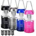 Gold Armour LED Lantern Camping Lanterns 4 Pack for Hiking, Emergency, Hurricanes, Outages, Storms - Camping Gear Accessories Equipment with 12 AA Batteries