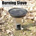 Tebru Outdoor Camping Portable Stainless Steel Folding Wood Burning Stove Firewoods Furnace for Hiking Picnic BBQ Cooking,Stainless Burning Stove,Portable Burning Stove
