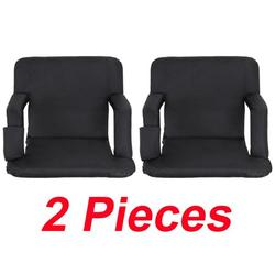 ZAZZIO Set of 2 Portable Stadium Seat Chair, Reclining Seat Black Bleachers 5 Positions