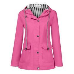 (Toponeto) Women Solid Rain Jacket Outdoor Plus Size Waterproof Hooded Raincoat Windproof