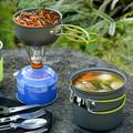 Lacyie Camping Cookware Kit Backpacking Cookset Lightweight Pot Pan Kettle Fork Knife Spoon Kit For Outdoor Camping Hiking Picnic