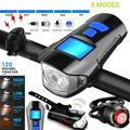 Bike Light Set Bike Lights Front and Back Bicycle Speedometer Bike Computer Odometer USB Rechargeable Bicycle Headlight & Free Taillight with Horn/Alarm Bell for Safe Cycling