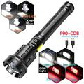 7 Mode Light P90+COB 90000 lumens Powerful Flashlight Rechargeable Waterproof Searchlight P90&COB Super Bright Led Flashlight USB Zoom Torch P90&COB Best New(Battery Not Included)
